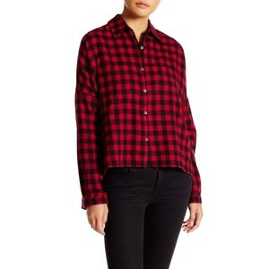 Harlowe & Graham Oversized Hi-Lo Plaid Shirt